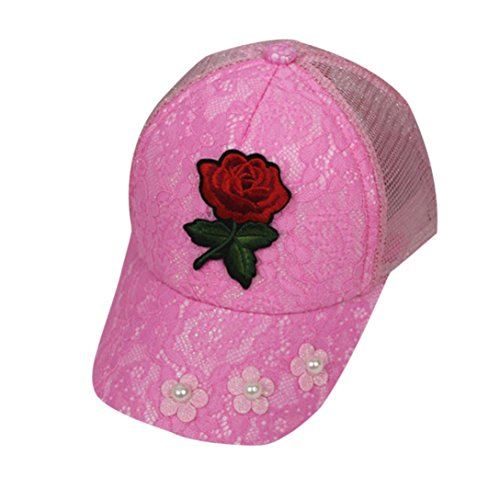 FALAIDUO Beanie Hat For Kids Boys Girls Cotton Rose Hat Child Print Hat Sun Cap (4-10 Years, Hot Pink)