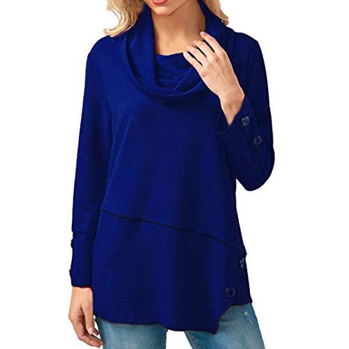 SEWORLD Women Button Irregular Loose Long Sleeve T-Shirt Turtleneck Pullover Blouse Tops