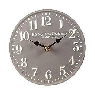 Table Clock Metal Grey Nostalgia Vintage Watch Ø 15cm Antikuhr Shabby
