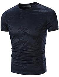 Longra Tops des Hommes Homme T-Shirt Décontractée Camouflage Imprimé O Cou Tee Shirt Homme Slim Manches Courtes Chemise Tank Tops Été Gilet de Plage Basique Haut Vest