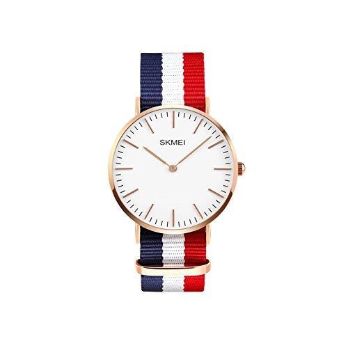 Ilove UE Homme Femme Montre bracelet 30m étanche à quartz analogique Casual Montre avec bracelet élastique bleu blanc rouge textile