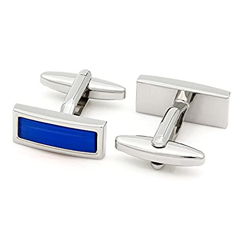 Kemstone Silver Tone Blue Opal Cufflinks for Men