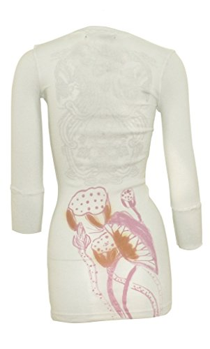 Ku Damen Sporttop, Sport Shirt, Yoga-Top mit 3/4-Ärmel, V-Ausschnitt, Slim-Fit, Lotus-Print von Chakura Meditation Kimono by USA, Weiß, Small (Usa Armee Kleidung)