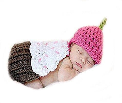 Erdbeere Kostüm Neugeborene - Unbekannt Baby Fotos Häkelkostüm Strick Kostüm Fotoshooting Erdbeere Braun Pink 3-6M