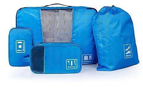 BAGSMART Organiseur de voyage composé de 4 sacs pour les voyages d'affaires (Organisateur pour vêtements, Sac pour les accessoires électroniques, Trousse de toilette, Sac à chaussures)