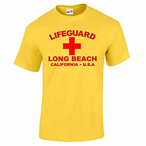 Herren Lifeguard Long Beach California USA Surfer Beach Kostüm T-Shirt Gelb XXL (Un Kostüm Usa)