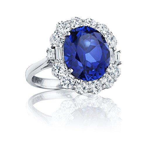 Ryan Jonathan ovale blu zaffiro e diamante Anello in platino (11.60cttw), platino, 11, cod. C2462W