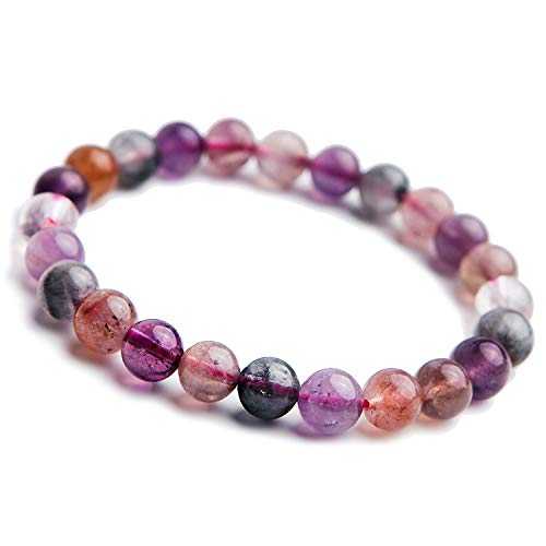 fb6f1f0600844 Sunwd Cuentas Pulsera,Brazalete Genuine Natural Colorful Auralite 23  Cacoxenite Women Man Purple Red Canada Round Beads Bracelets 7Mm 8Mm AAAAA  Drop ...