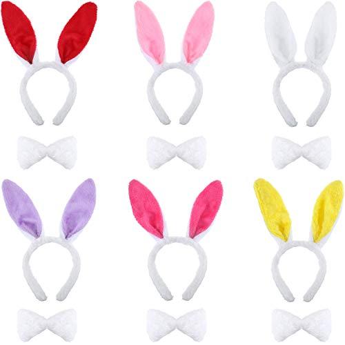 6 Sätze Hase Häschen Satz, Ostern Party Favors Kostüm Dekorationen, Ohren Stirnband Fliegen Schwanz Satz