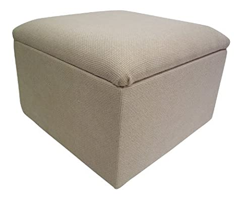 Large Storage Box /Pouffe/Footstool Cream Basketweave Chenille Fabric by HF Direct