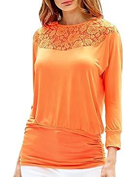 FEITONG Mujeres de talla grande blusa Pullover de manga larga camisa de encaje Tops Blusa