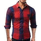 Innerternet Herren Kariert Hemd – Slim-Fit – Bügelleicht – Für Anzug, Business, Hochzeit, Freizeit – Langarm-Hemd für Männer Super Qualität Mode Bluse Freizeithemd