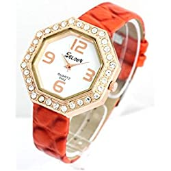 Selden - Montre Femme Bracelet Cuir Orange 639