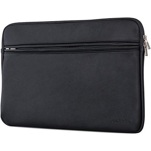 CASEZA Boston MacBook Pro 15 Kunstleder Hülle Schwarz - Edle PU Leder Tasche Sleeve für das Apple MacBook Pro 15 - - Laptoptasche passt auch für 14 Zoll Laptop/Notebook Modelle - Weich gepolstert (Apple Laptop Schwarz)