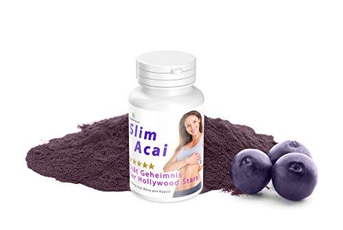 Abnehmen mit der Acai Diät: Slim Acai Plus Hochdosiert mit 1000mg Acai Berry 120 Kapseln - Hergestellt in Großbritannien - Garantiert Glutenfrei - Acai-früchte Kapseln