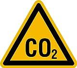 Aufkleber Warnung vor CO2 Folie selbstklebend SL 100 mm (Kohlendioxid, Achtung Gas, Warnschild) praxisbewährt, wetterfest
