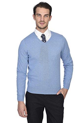 STATE CASHMERE langärmliger Pullover aus 100 % reinem Kaschmir mit V-Ausschnitt für Herren Baby Blau