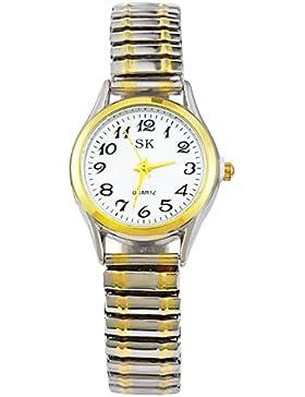 MJartoria Damen Armbanduhr Quarz Uhr Modeschmuck Edelstahl Band Mode Design