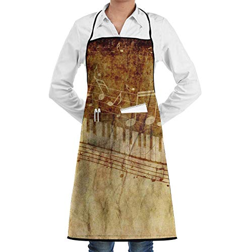 aprons for men Piano Keys with Musical Notes Aprons Bib for Mens Womens Grilling Lace Adjustable Adult Kitchen Waiter Schürzen mit Taschen - Dexter House Key