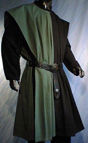 Ritter Kostüm Gewand Muster - WAFFENROCK TUNIKA RITTER RITTERKAMPF BAUMWOLLE LEINEN 1490 grün schwarz