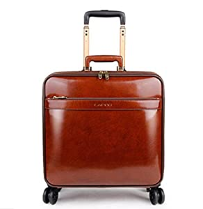 PINCHU Trolley Laptop Bag Genuine Leather Business Wheeled Cabin Sized Computer Bag Briefcase Carry On Roller Cases
