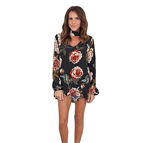 LHWY Damen V neck Long Sleeve Floral t-Shirt Ladies Chiffon Tops Loose Bluse Schwarz