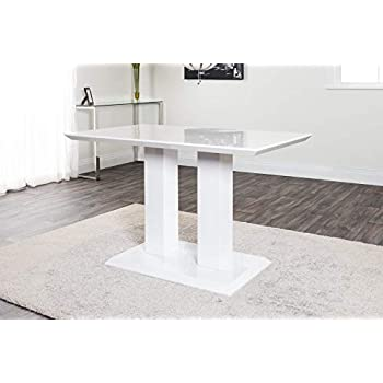 Furniturebox UK Imperia Modern White High Gloss Dining Table And 4 Lorenzo Chrome Leather Dining Chairs Set (Dining Table + 4 Elephant Grey Lorenzo)