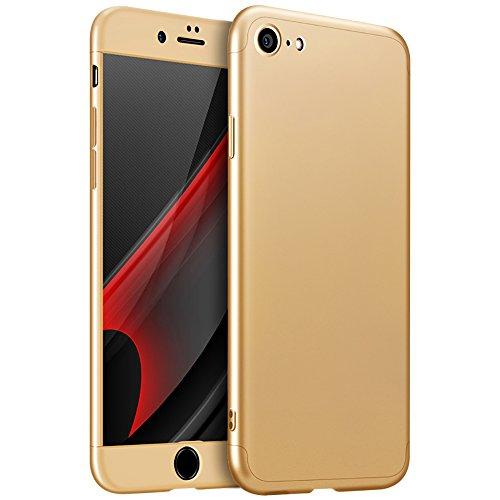 iPhone 6S Custodia, PLECUPE Lusso 3 in 1 Hard Duro PC Case Cover Coperture, Ultra Sottile Thin 360 Gradi della Copertura Completa Anti-Scratch Antiurto Caso Shell per iPhone 6/6S (Rosso) Oro