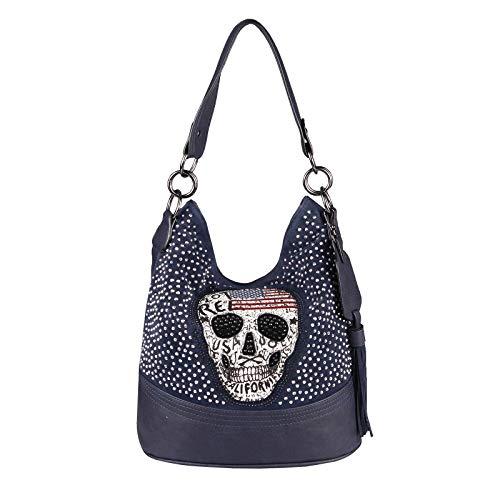 OBC Damen Totenkopf Tasche Hobo Bag Strasssteine Schultertasche Umhängetasche Henkeltasche Glitzer Bowling Handtasche Shopper Leder Optik (Dunkelblau 34x29x18 cm)