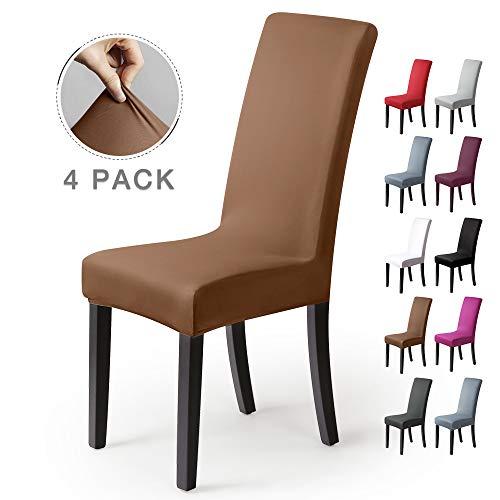 Stuhlhussen 4Stück,Stretch-Stuhlbezug elastische moderne Husse Elasthan Stretchhusse Stuhlbezug Stuhlüberzug.bi-elastic Spannbezug,sehr pflegeleicht und langlebig Universal-(4 StückSilber-Beige-stein) -