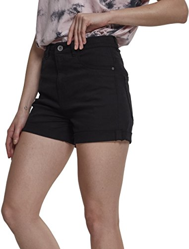 Urban Classics Damen Shorts Ladies Highwaist Stretch Twill, Schwarz (Black 00007), 38 (Herstellergröße: 28)