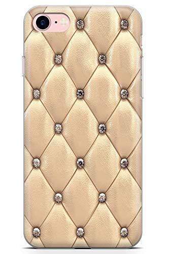 Case Warehouse iPhone 7/8 Designer Arbeiten Gold Beschlagene Leder Schutz Gummi Handyhülle TPU Bumper Süss Blau Stein Girls Modisch -