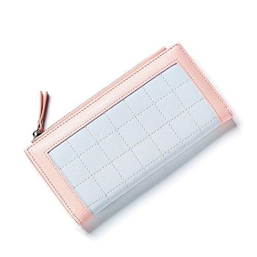 Portafoglio Donna - Borse in pelle di Cuoio delle Donne in PU borse Portafoglio Portafoglio Lungo in Lana Frizione (Rosa) Arancia