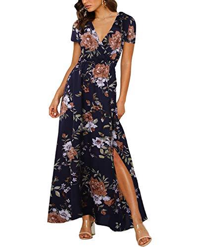 Auxo Femme Maxi Longue Manches Courtes Col V Robe Bohème Fleurie Imprimée Décontractée Dress Casual de Plage Soirée Bleu Marine 2XL