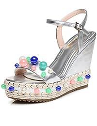 zapatos con pequeños/Zapatos de moda de verano/Sandalias plataforma de cuña/Tejer zapatos de suela gruesos perla