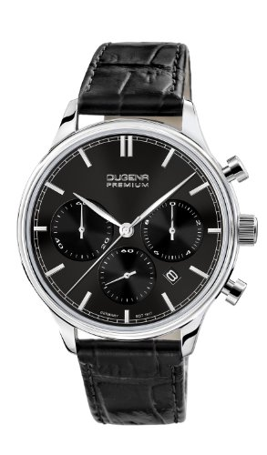 Dugena Men's Dugena Premium Quartz Watch with Black Dial Chronograph Display and Black Leather Strap