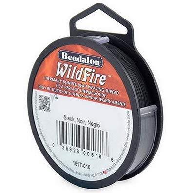 Beadalon Wildfire Perlenfaden, 0.15mm, 45,8m, schwarz, zum auffädeln von Perlen, selber machen von Schmuck, reissfest, leicht zu verarbeiten