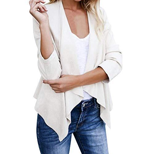 Camicia in pelle scamosciata ladies small risvolto tinta in grazioso unita per la primavera autunno autunno inverno giacca cardigan corto giacca da lavoro (color : bianca, size : xl)