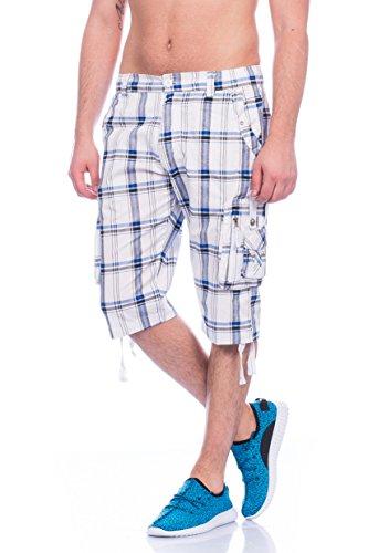 Herren Bermuda Dreiviertel Hose Cargo-Shorts Capri Größe M bis 4XL (3XL, Weiß-302) (Capri-hosen Neue Herren)