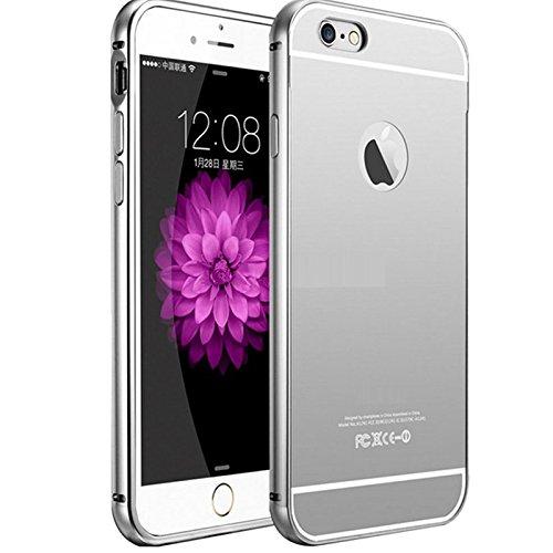 Semoss Metallo Alluminio Custodia Rigida per Apple iPhone SE / iPhone 5S 5G Lusso Protettivo Specchio Bumper Back Case Cover Rigida - Siliver