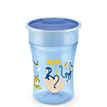 NUK Magic Cup Sippy Cup | 360° Anti-Spill Rim | 8+ Months | BPA-Free | 230 ml | Monkey (Blue) | 1 Count