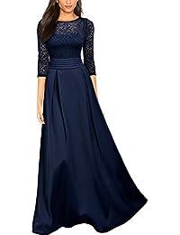 MIUSOL Damen Vintage Spitzenkleider Hochzeit Elegant Brautjungfer Abendkleider Dunkelblau Gr.S-XXL