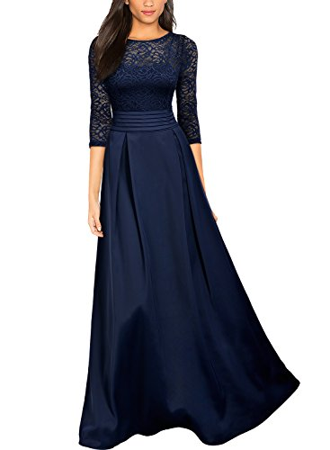 MIUSOL Damen Vintage Spitzenkleider Hochzeit Elegant Brautjungfer Abendkleider Dunkelblau Gr.XL