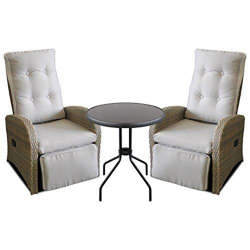 Gartenmöbel Set   2x Poly Rattan Gartensessel Mit Fußteil, Stufenlos  Verstellbar Grau/Beige Inkl. Auflage + Glastisch Ø60cm   Relaxsessel  Fernsehsessel ...