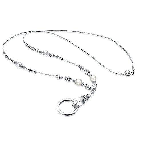 Wisdompro® Damen-Halskette / Schlüsselband, mit ovalem Drehgelenk-Verschluss und Schlüsselring, für Ausweise und Schlüssel geeignet, modisches Design, 48,3cm Länge silber