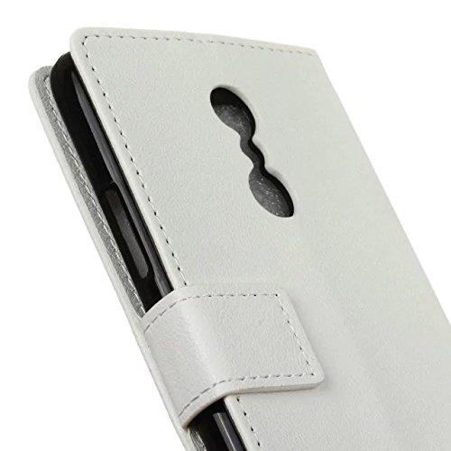 Solid Color Kas Textur Muster Leder Schutzhülle Case Horizontal Flip Stand Case mit Kartennuten für Lenovo K6 Hinweis ( Color : Pink , Size : Lenovo K6 Note ) White