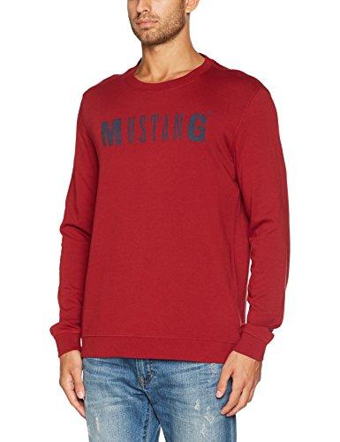 Mustang Herren Sweatshirt Logo Sweater Rot (Biking Red 7145)