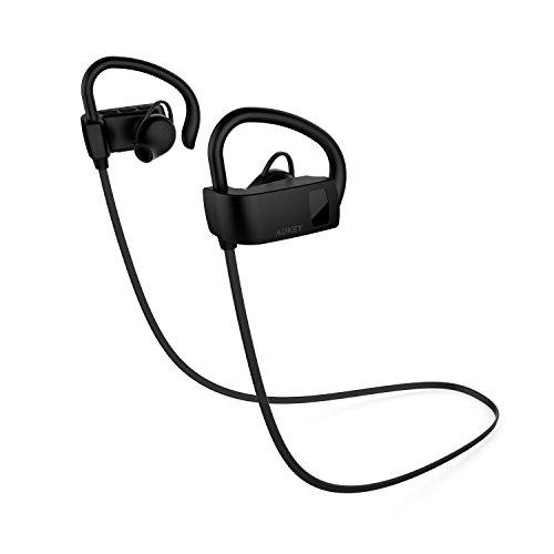 AUKEY Auricolare Bluetooth Stereo Cuffie Sportive In Ear per Chiamate e Musica con Microfono Incorporato A prova di polvere e sudore per Samsung, iPhone per Sport, Bicicletta, Yoga, ecc (EP-B14, Nero)