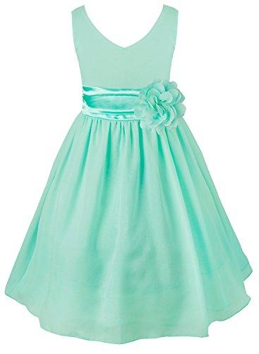 Tiaobug Kinder Mädchen Kleid Festlich Blumen-mädchen Chiffon Kleid Prinzessin Party Kleid Hochzeit Festzug 92-164 Türkis 164 -