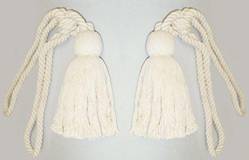 Alzapaños de cuerda de color crema con borlas para cortinas, 2unidades